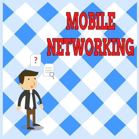 Handwriting text writing Mobile Networking. Conceptual photo Communication network where the last link is wireless Young Male Businessman Office Worker Standing Searching Problem Solution Фото со стока