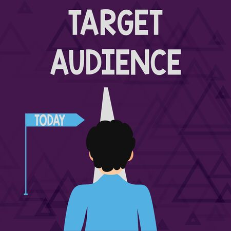 Writing note showing Target Audience. Business concept for category of showing you want to address your words to Man Facing Distance and Blocking the View of Straight Narrow Path