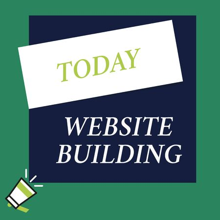 Writing note showing Website Building. Business concept for tools that typically allow the construction of pages Speaking trumpet on left bottom and paper to rectangle background
