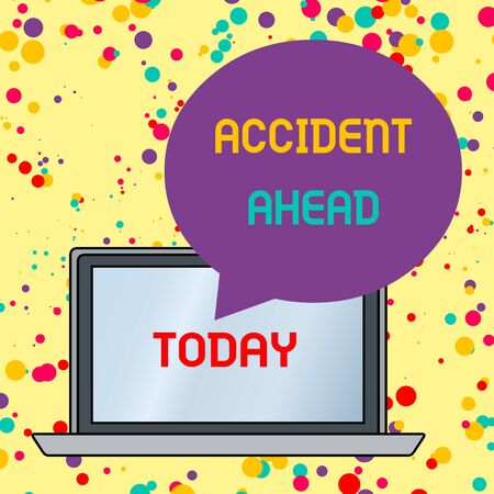 Text sign showing Accident Ahead. Business photo text Unfortunate event Be Prepared Detour Avoid tailgating Round Shape Empty Speech Bubble Floating Over Open Laptop Colored Backdrop Banco de Imagens