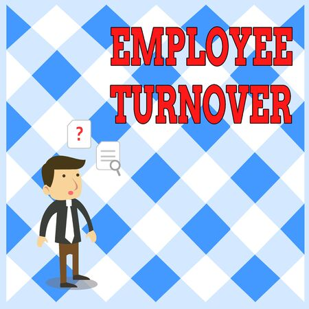 Handwriting text writing Employee Turnover. Conceptual photo Number or percentage of workers who leave an organization Young Male Businessman Office Worker Standing Searching Problem Solution