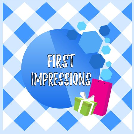 Conceptual hand writing showing First Impressions. Concept meaning What a demonstrating thinks of you when they first meet you Greeting Card Poster Gift Package Box Decorated by Bowknot