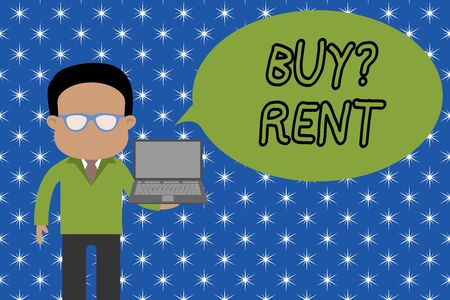 Text sign showing Buy Question Rent. Business photo showcasing Group that gives information about renting houses Standing man in suit wearing eyeglasses holding open laptop photo Art Imagens