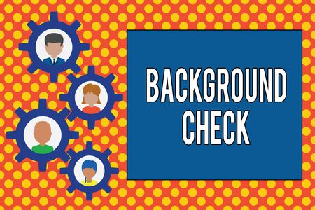 Text sign showing Background Check. Business photo showcasing way to discover issues that could affect your business Gearshaped picture frame family ornament mother father daughter son photo