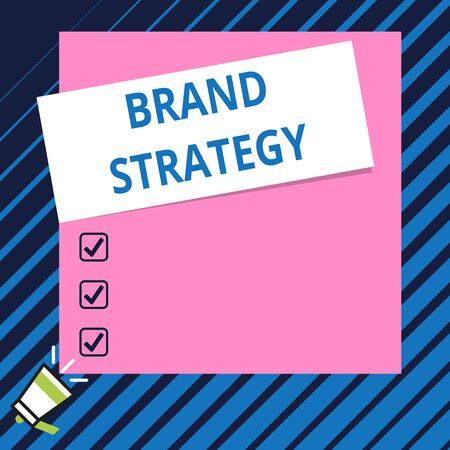 Conceptual hand writing showing Brand Strategy. Concept meaning Long term marketing support for a product Marketing Speaking trumpet on bottom and paper on rectangle background