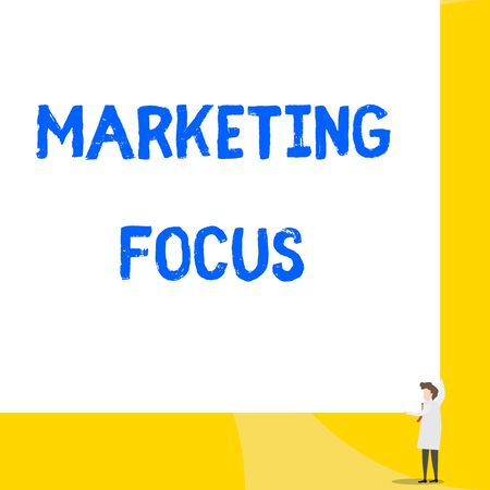 Writing note showing Marketing Focus. Business concept for understanding your customers and thier needs using stats Young woman holding two hands right corner big rectangle