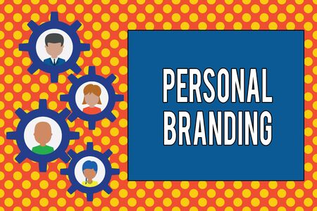 Text sign showing Personal Branding. Business photo showcasing Practice of People Marketing themselves Image as Brands Gearshaped picture frame family ornament mother father daughter son photo Фото со стока
