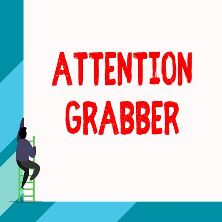 Writing note showing Attention Grabber. Business concept for Deanalysisding notice mainly by being prominent or outlandish Back view young long hair woman holding blank square announcement