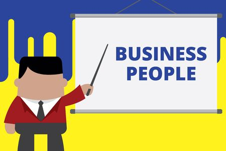 Handwriting text writing Business People. Conceptual photo People who work in business especially at an executive level Businessman standing in front projector screen pointing project idea