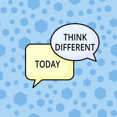 Word writing text Think Different. Business photo showcasing be unique with your thoughts or attitude Wind of change Pair of Overlapping Blank Speech Bubbles of Oval and Rectangular Shape