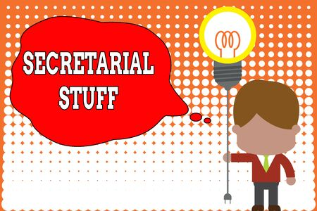 Handwriting text writing Secretarial Stuff. Conceptual photo Secretary belongings Things owned by demonstratingal assistant Standing man tie holding plug socket light bulb to connect idea. Startup