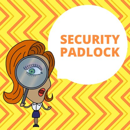 Conceptual hand writing showing Security Padlock. Concept meaning hardened steel body and double locking shackle of extra one Woman Looking Trough Magnifying Glass Big Eye Speech Bubble