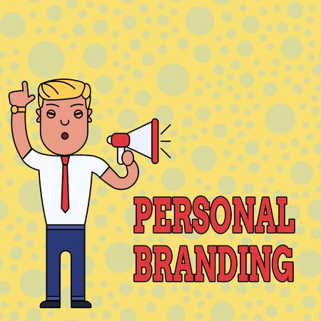 Writing note showing Personal Branding. Business concept for Practice of People Marketing themselves Image as Brands Man Standing with Raised Right Index Finger and Speaking into Megaphone
