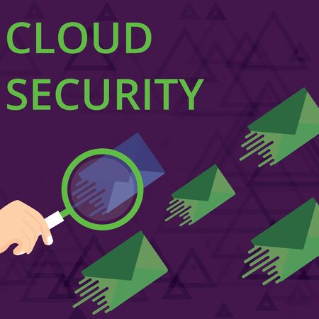 Text sign showing Cloud Security. Business photo showcasing Protect the stored information safe Controlled technology Magnifying Glass on One Different Color Envelope and others has Same Shade