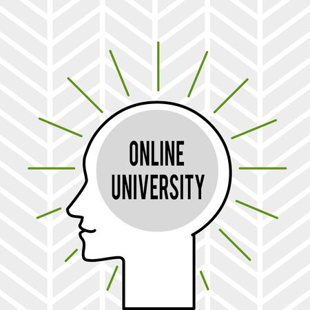 Handwriting text writing Online University. Conceptual photo Distance Learning Courses are taken over the internet Outline Silhouette Human Head Surrounded by Light Rays Blank Text Space Stockfoto