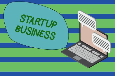 Writing note showing Startup Business. Business concept for Engaging to a New Venture Fresh Trading and Selling Laptop receiving sending information internet wireless