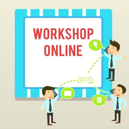 Word writing text Workshop Online. Business photo showcasing room or building in which goods are analysisufactured repaired Businessmen Coworkers Conference Call Conversation Discussion Mobile Phones Foto de archivo - 124656395