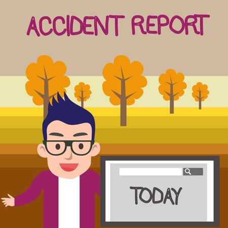 Text sign showing Accident Report. Business photo text A form that is filled out record details of an unusual event Male Speaker Monitor with Search Tool on Screen Presentation or Report
