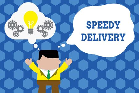 Text sign showing Speedy Delivery. Business photo showcasing provide products in fast way or same day shipping overseas Standing man suit hands up imaginary bubble light bulb gears working together