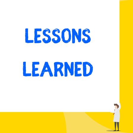 Writing note showing Lessons Learned. Business concept for information reflects positive and negative experiences Young woman holding two hands right corner big rectangle Foto de archivo - 124656425