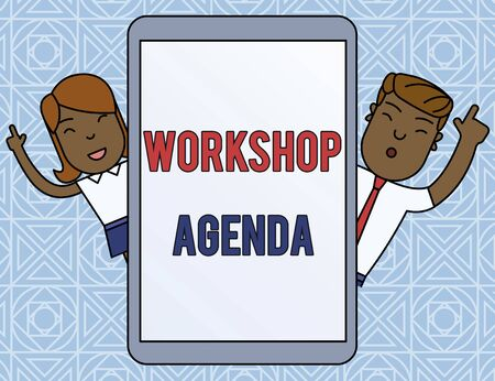 Word writing text Workshop Agenda. Business photo showcasing helps you to ensure that your place stays on schedule Male and Female Index Fingers Up Touch Screen Tablet Smartphone Device Stockfoto