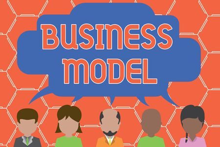 Writing note showing Business Model. Business concept for Identifying revenue sources Plan on how to make profit Five different persons sharing speech bubble People talking