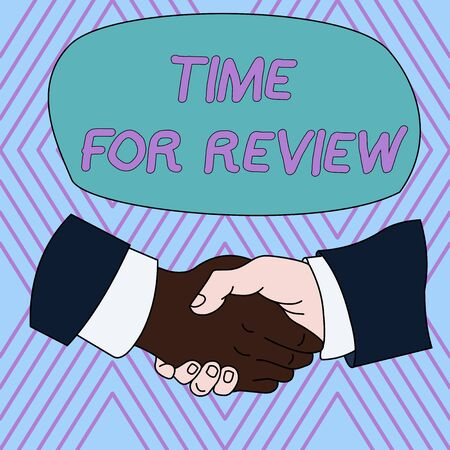Text sign showing Time For Review. Business photo text review of a system or situation in its formal examination Hand Shake Multiracial Male Business Partners Colleagues Formal Shirt Suit Banco de Imagens - 124656499