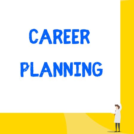 Writing note showing Career Planning. Business concept for Strategically plan your career goals and work success Young woman holding two hands right corner big rectangle 写真素材