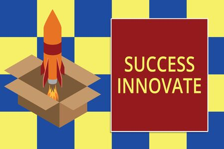 Text sign showing Success Innovate. Business photo text make organizations more adaptive to market forces Fire launching rocket carton box. Starting up project. Fuel inspiration Foto de archivo - 124656530
