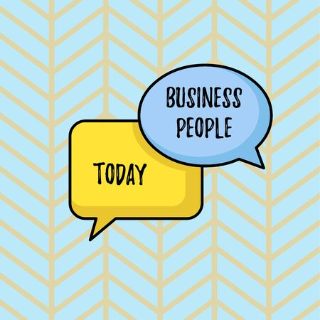 Writing note showing Business People. Business concept for People who work in business especially at an executive level Pair of Overlapping Blank Speech Bubbles of Oval and Rectangular Shape