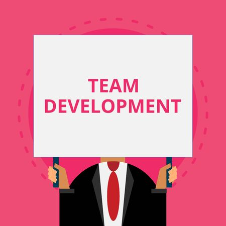 Text sign showing Team Development. Business photo text learn why and how small groups change over time with graphs Old fashioned way to pick people at airport hold big board with two hands