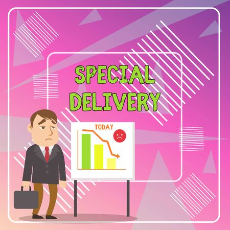 Word writing text Special Delivery. Business photo showcasing getting products or service directly to your home any place Businessman Clerk with Brief Case Standing Whiteboard Declining Bar Chart