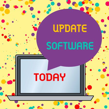 Text sign showing Update Software. Business photo text replacing program with a newer version of same product Round Shape Empty Speech Bubble Floating Over Open Laptop Colored Backdrop