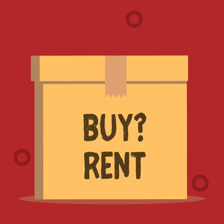 Word writing text Buy Question Rent. Business photo showcasing Group that gives information about renting houses Close up front view open brown cardboard sealed box lid. Blank background