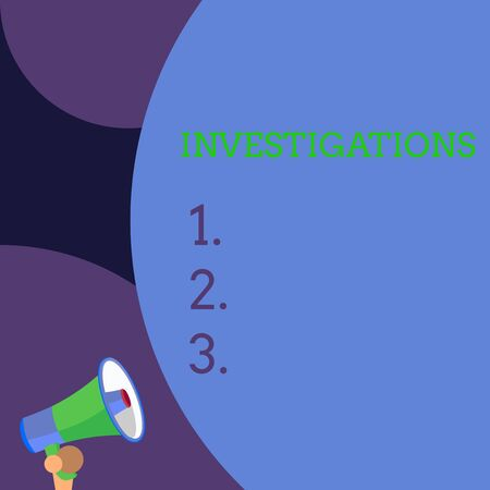 Conceptual hand writing showing Investigations. Concept meaning The formal action or systematic examination about something Blank huge balloon empty text with small megaphone. Announcement Stock Photo