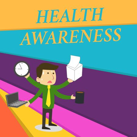 Handwriting text writing Health Awareness. Conceptual photo Promoting community issues and preventative action Stressed Out Male Employee Manager Many Armed Multitasking Meet Deadline