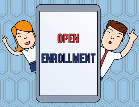 Text sign showing Open Enrollment. Business photo text The yearly period when showing can enroll an insurance Male and Female Index Fingers Up Touch Screen Tablet Smartphone Device