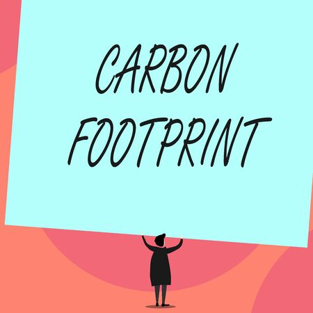 Word writing text Carbon Footprint. Business photo showcasing amount of dioxide released atmosphere result of activities Back view standing short hair woman dress hands up holding blank rectangle