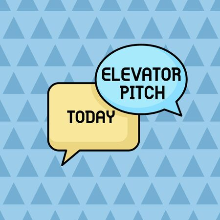 Text sign showing Elevator Pitch. Business photo showcasing A persuasive sales pitch Brief speech about the product Pair of Overlapping Blank Speech Bubbles of Oval and Rectangular Shape Фото со стока