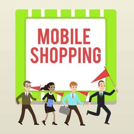 Handwriting text writing Mobile Shopping. Conceptual photo Buying and selling of goods and services through mobile People Crowd Flags Pennants Headed by Leader Running Demonstration Meeting