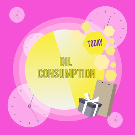 Conceptual hand writing showing Oil Consumption. Concept meaning This entry is the total oil consumed in barrels per day Greeting Card Poster Gift Package Box Decorated by Bowknot