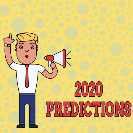 Writing note showing 2020 Predictions. Business concept for list of things you feel that going to happen without proof Man Standing with Raised Right Index Finger and Speaking into Megaphone