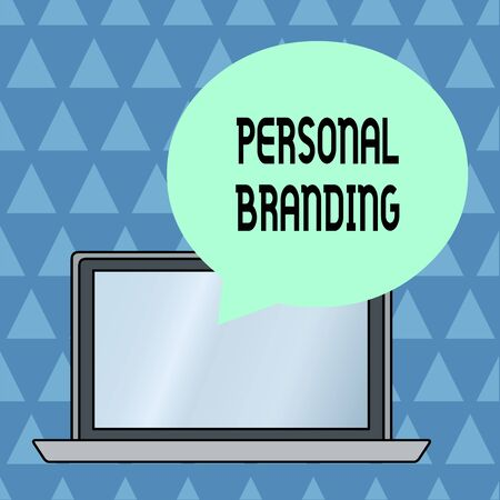 Text sign showing Personal Branding. Business photo showcasing Practice of People Marketing themselves Image as Brands Round Shape Empty Speech Bubble Floating Over Open Laptop Colored Backdrop Фото со стока