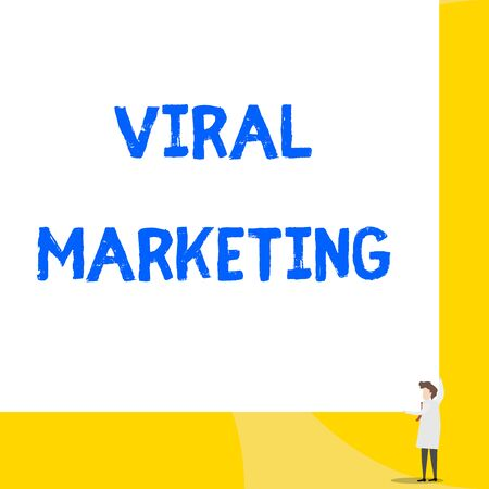 Writing note showing Viral Marketing. Business concept for whereby consumer encouraged share information via Internet Young woman holding two hands right corner big rectangle Фото со стока