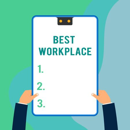 Conceptual hand writing showing Best Workplace. Concept meaning Ideal company to work with High compensation Stress free Two executive male hands electronic device geometrical background Фото со стока