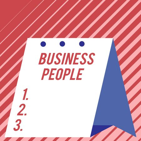 Text sign showing Business People. Business photo showcasing People who work in business especially at an executive level Modern fresh and simple design of calendar using hard folded paper material