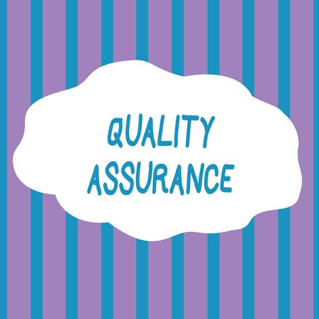 Text sign showing Quality Assurance. Business photo showcasing Ensures a certain level of quality Established requirement Seamless Vertical Stripes Pattern in Blue and Violet Alternate Color Strip