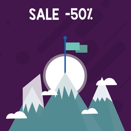 Conceptual hand writing showing Sale 50 Percent. Concept meaning A promo price of an item at 50 percent markdown Three High Mountains with Snow and One has Flag at the Peak 版權商用圖片