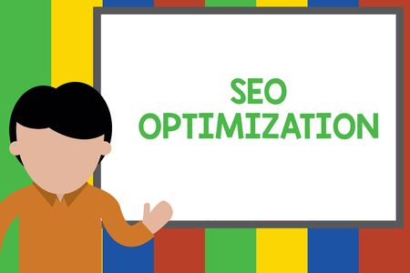 Writing note showing Seo Optimization. Business concept for process of affecting online visibility of website or page Young man standing in front whiteboard pointing to project. photo Art