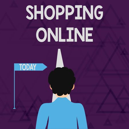Writing note showing Shopping Online. Business concept for buying you want through internet website then deliver it Man Facing Distance and Blocking the View of Straight Narrow Path